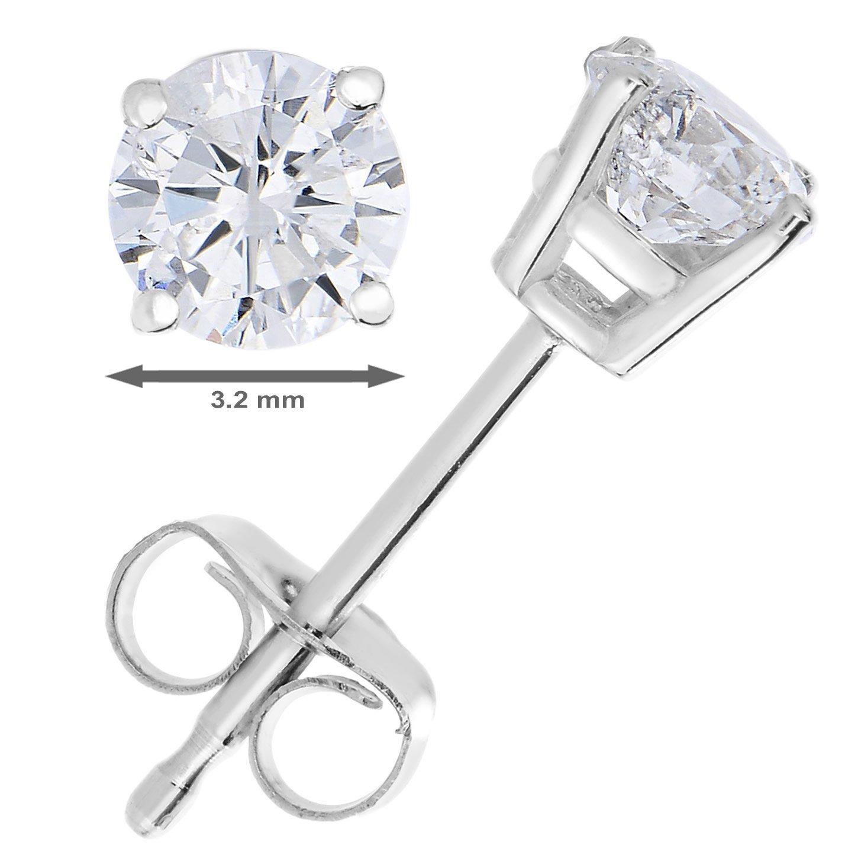14k White Gold IGI Certified Diamond Stud Earrings (1/3cttw, I-J Color) by Vir Jewels (Image #2)