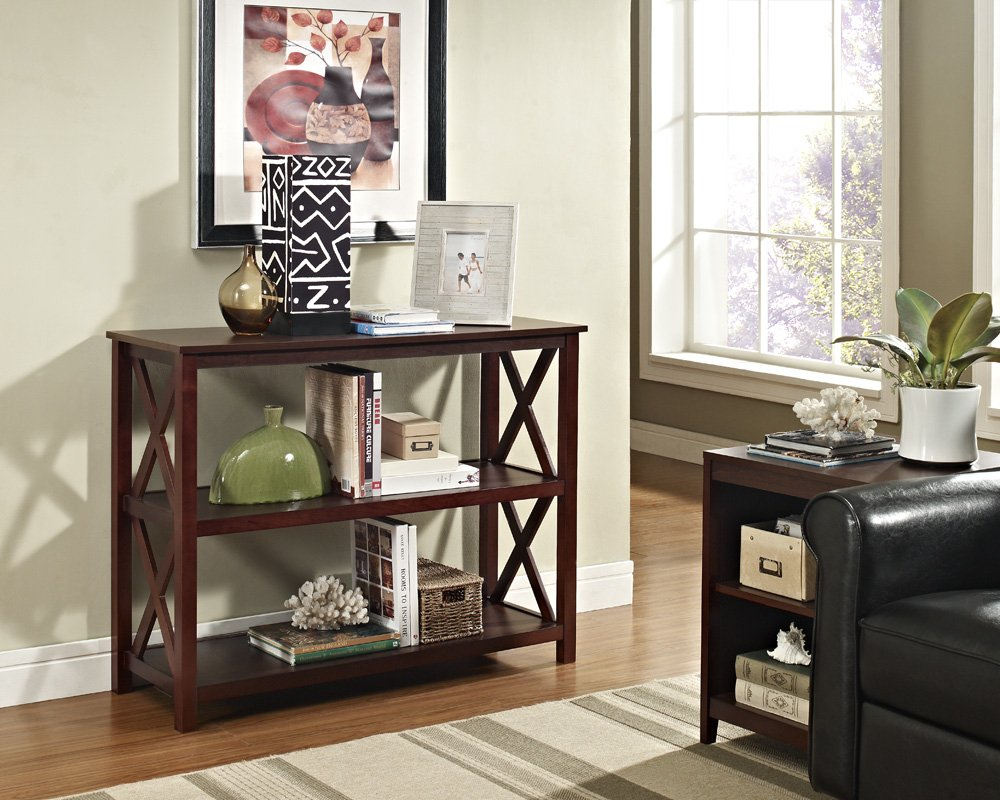 Amazon.com: Espresso Occasional Console Sofa Table Bookshelf ...