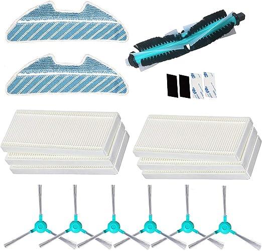 REYEE Pack de 19 Kit de Accesorios de Repuesto para Cecotec Conga Excellence 1290 Conga 1390 Robot Aspiradora, 6 Filtros + 6 Cepillos Laterales + 2 fregona + 1 Cepillo Principal + 4 Paster: Amazon.es: Hogar