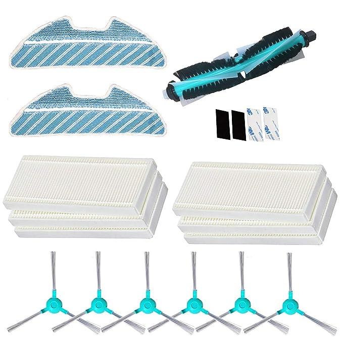 REYEE Pack de 19 Kit de Accesorios de Repuesto para Cecotec Conga Excellence 1290 Conga 1390 Robot Aspiradora, 6 Filtros + 6 Cepillos Laterales + 2 ...
