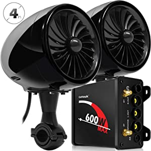 "GoHawk TJ4 2.1 Channel 600W Amplifier 4"" Full Range Waterproof Bluetooth Motorcycle Stereo Speakers Audio System AUX FM Radio for 7/8-1.25 in. Handlebar Harley Yamaha Can-Am ATV UTV RZR Polaris"