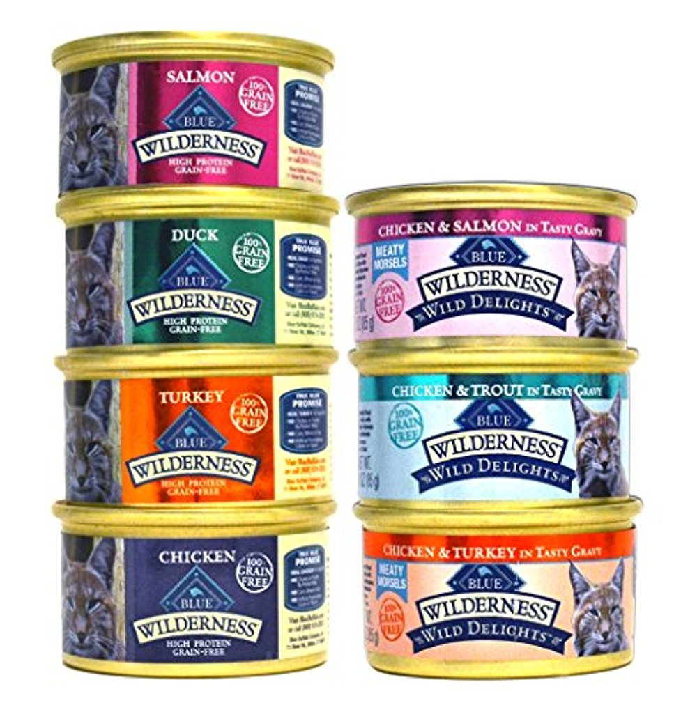 Blue Buffalo Wilderness Grain-Free Cat Food Variety Pack Box - 7 Flavors (4 Classic Flavors & 3 Wild Delights Flavors) - 21 (3 Ounce) Cans - 3 of Each Flavor by Blue Buffalo