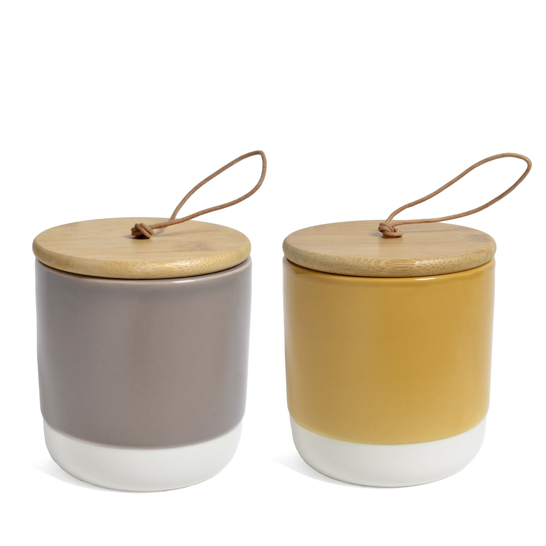 Bloomingville Stoneware Jars with Acacia Wood Lids, Multicolor, Set of 2