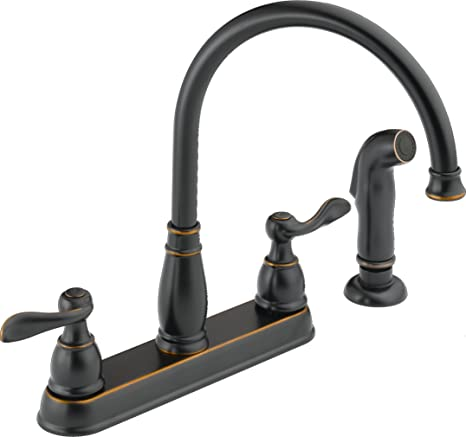 Delta Faucet Windemere 2 Handle Kitchen Sink Faucet With Side