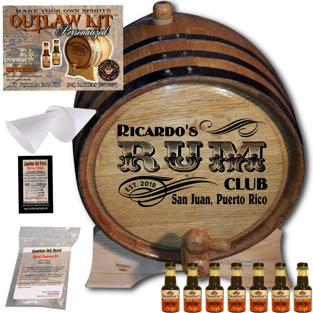 Personalized Rum Making Kit (200) - Create Your Own Amber Cuban Rum - The Outlaw Kit from Skeeter's Reserve Outlaw Gear - MADE BY American Oak Barrel - (Oak, Black Hoops, 2 Liter) COK200ACR02LBK
