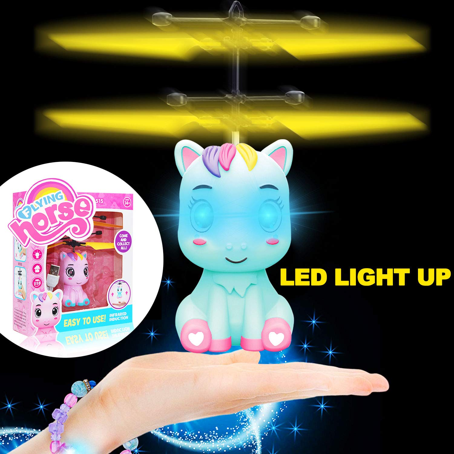 Unicorn LED Flying Toy Ball, Upgraded Flying Ball RC Toys for Kids Light Up Flying Ball Drone with Remote Control Outdoor Flying Toys for Kids Flying Toys for Boys Girls Birthday (Blue) (Blue)