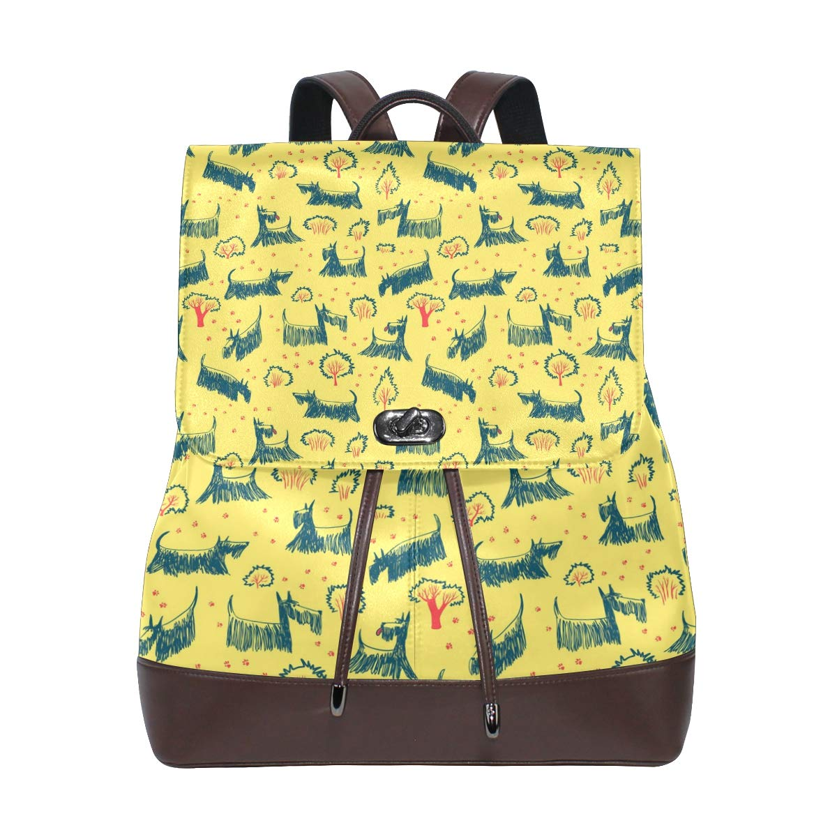 Unisex PU Leather Backpack Dachshund Gifts for Women Yellow Print Womens Casual Daypack Mens Travel Sports Bag Boys College Bookbag