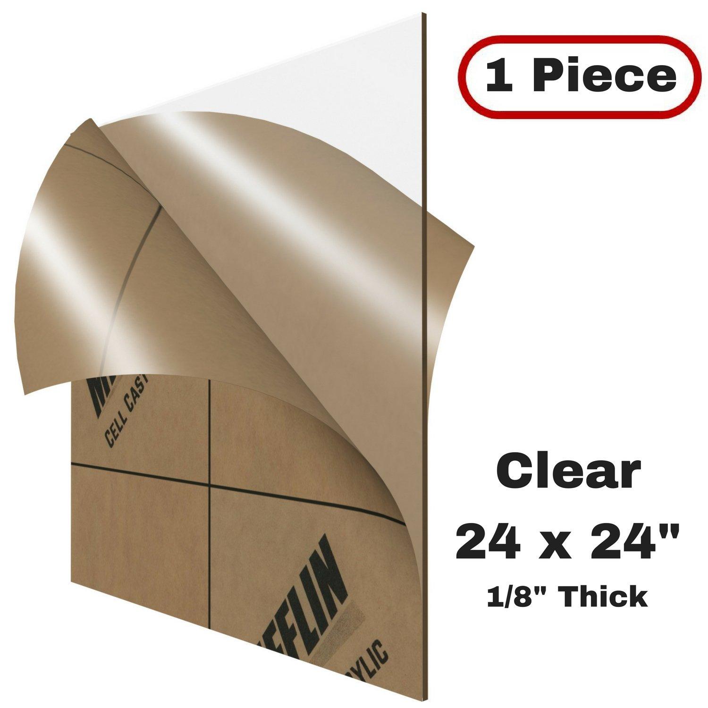 MIFFLIN Cast Plexiglass Sheet (Transparent Clear, 1 Piece, 24x24 inch, 0.118'' (1/8 in) Thick), Acrylic Sheet, Plexi Glass, Plastic Sheet, Clear Plastic Sheet, Cast Acrylic Square Plexiglass by MIFFLIN
