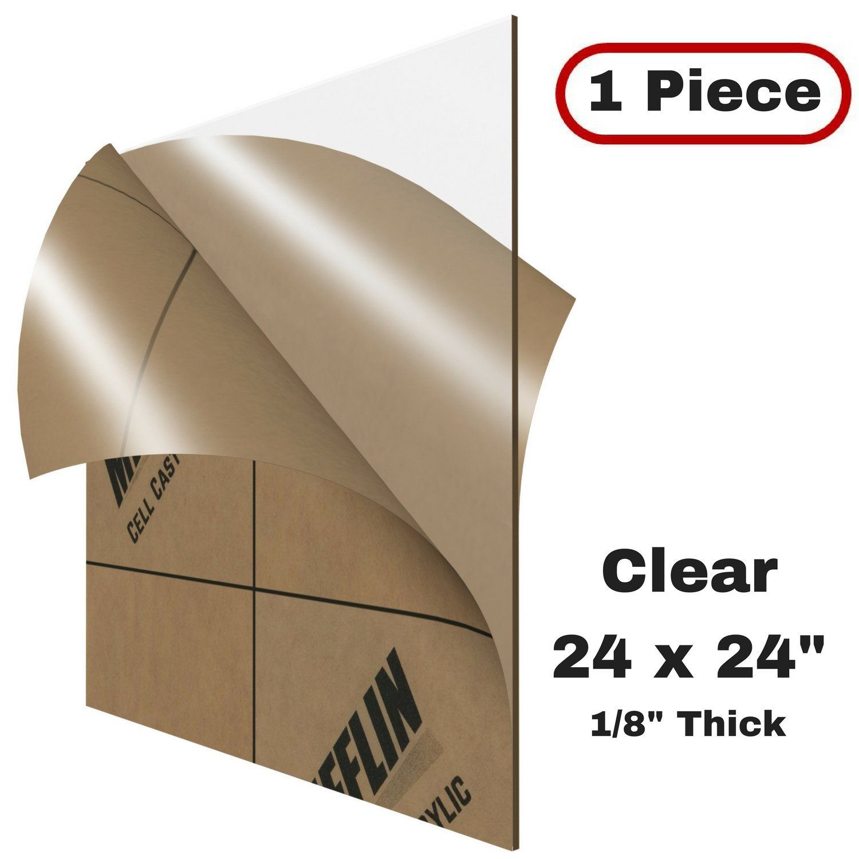 MIFFLIN Cast Plexiglass Sheet (Transparent Clear, 1 Piece, 24x24 inch, 0.118'' (1/8 in) Thick), Acrylic Sheet, Plexi Glass, Plastic Sheet, Clear Plastic Sheet, Cast Acrylic Square Plexiglass