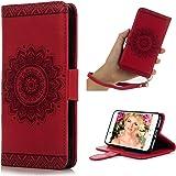 iphone7 ケース Mavis's Diary 横置き 耐久性 case 保護ケース 吸着の機能 スタンド 手帳型 PUレザーケース レッド