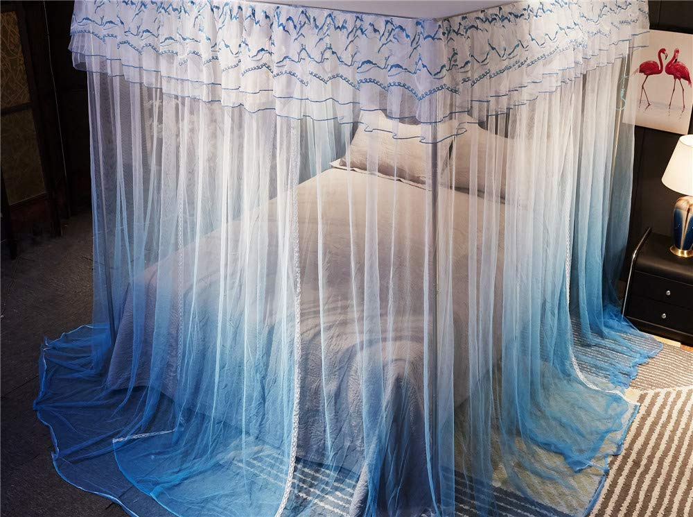 Mosquito net Double Bed Home Insect-Proof Children's Bedroom Gauze Princess Wind Floor Hanging Summer Decoration Tent, Blue, 1.5M by Lostryy-Mosquito Nets Baby (Image #5)