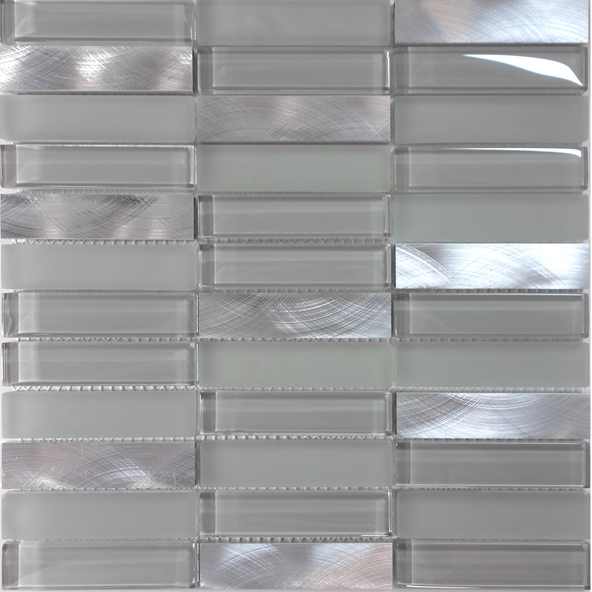 Modket TDH224MO Modern Gray Crystal Glass Blended Metallic Aluminum and Matted Glass Mosaic Tile Backsplash