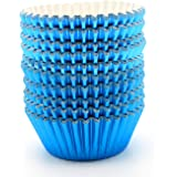 UNIQLED Pack of 200 Metallic Foil Paper Muffin Cupcake Liners Baking Cups Standard Size (Blue)
