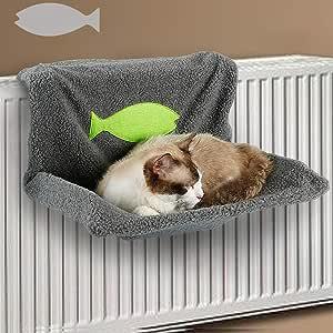 Decdeal Cama de Radiador para Gatos Hamacas para Gatitos Mascotas Pequeños Suave Tejido de Vellón Sherpa para Animales Domésticos para Descansar Dormir: Amazon.es: Hogar