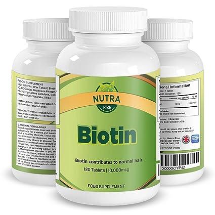 Vitaminas Biotina para el Crecimiento del Cabello, 10mg, la Mejor Potencia Máxima dada por la Vitamina ...