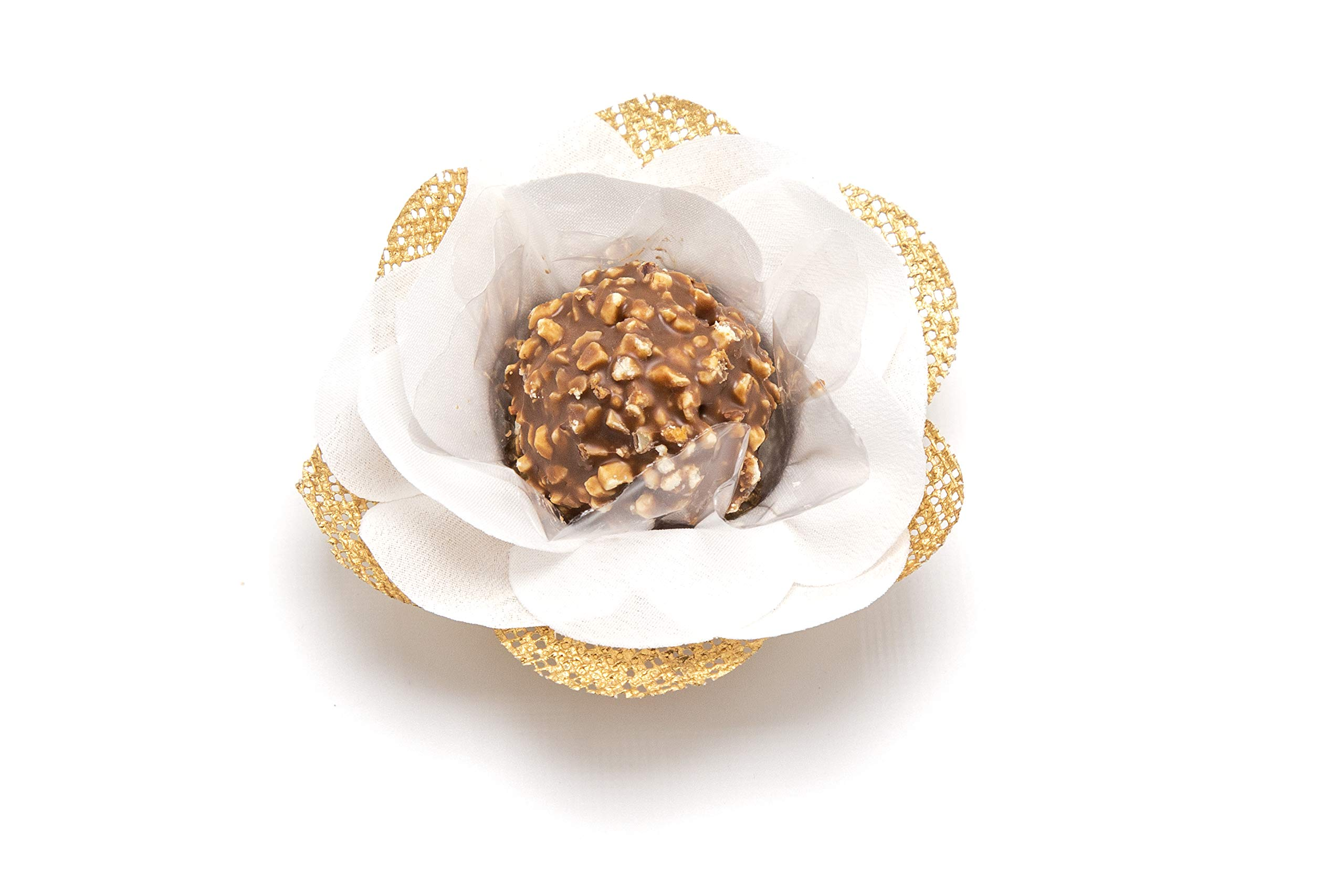 Truffilio Handmade Fabric Truffle Wrappers, Truffle Liners, Truffle Cups for Baby Shower Bridal Shower Birthday Party Wedding - Pack of 20 (Camellia White & Gold) by Truffilio