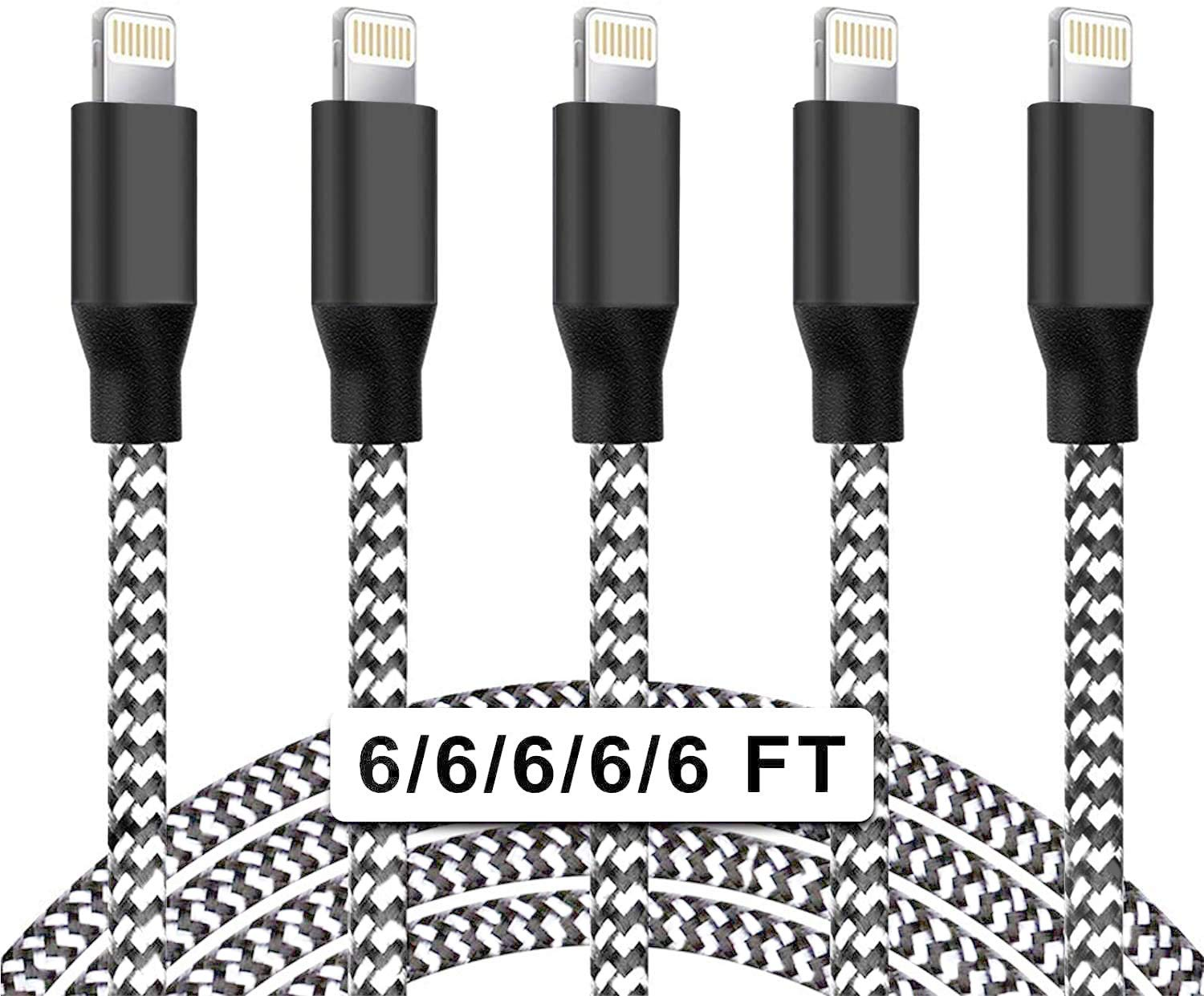 iPhone Charger Cable, [5Pack 6FT] MFi Certified Onpro Lightning Cable iPhone Charging Cord Nylon Braided Cable Charger Wire Compatible iPhone 12 Pro Max/12/11/X/Max/8/7/6/5/S/SE/Plus iPad Airpods