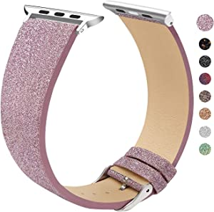 EurCross Watch Band Compatible with Apple Watch 42mm 44mm Shiny Strap Replacement Wristband for Women Glitter Bands Compatible with iWatch Series 5/4/3/2/1 (Pink Purple 42mm/44mm)