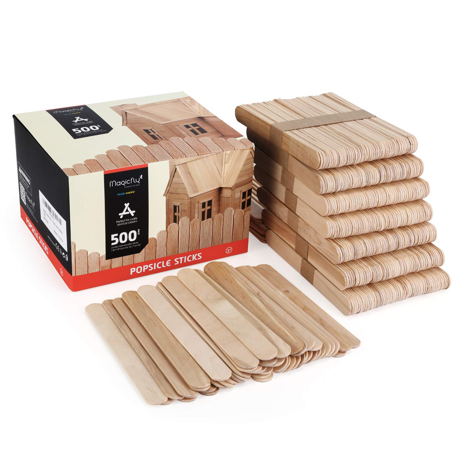 """Magicfly 500pcs Jumbo Craft Sticks, 6"""" X 0.75"""" Natural Wood Popsicle Craft Sticks for DIY Craft Projects, Home Decoration"""