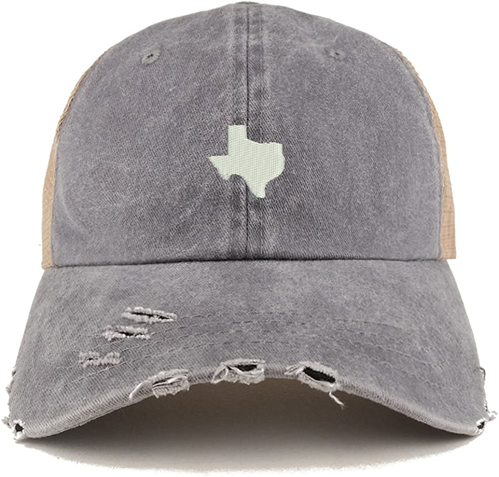 Trendy Apparel Shop Texas State Map Embroidered Frayed Bill Trucker Mesh Back Cap