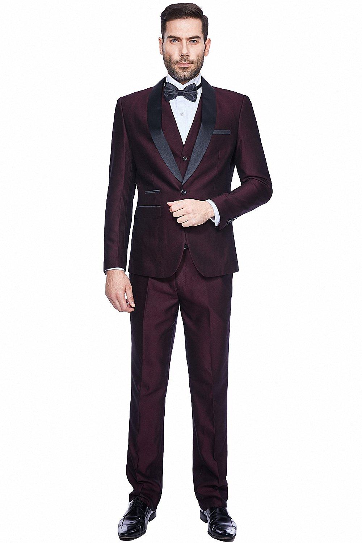 WEEN CHARM Men's 3-Pieces Suit Slim Fit Shawl Lapel One Button Vested Dress Suit Set Blazer Jacket Pants Tux Vest XZ-2005