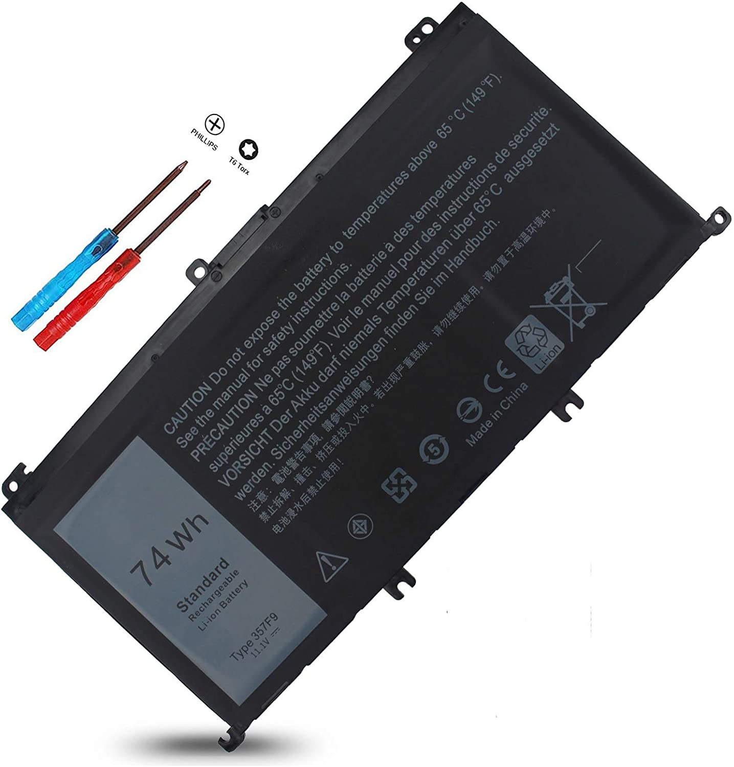 357F9 Battery 11.4 V 74Wh for Dell Inspiron 15 7000 Gaming Series 7559 7557 7567 7566 7759 5576 5577 15-7559 i7559 INS15PD P57F 071JF4 71JF4 0GFJ6 0357F9 Type P65F P65F001 P57F003 11.4V