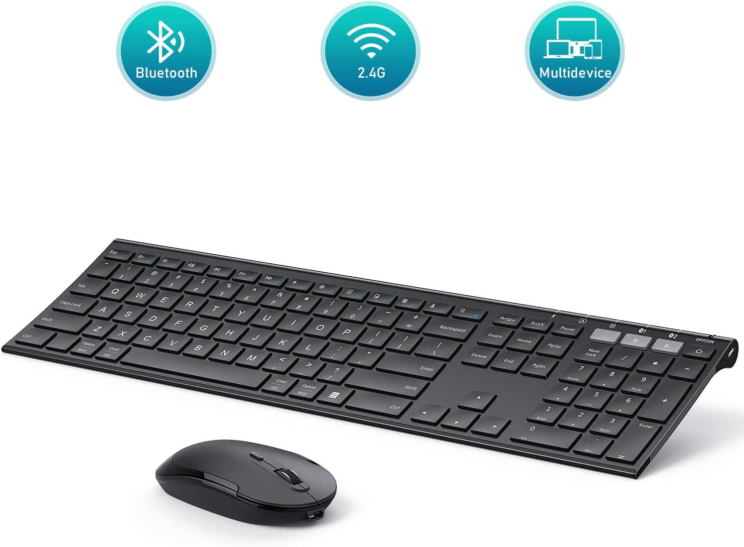 Multi-Device Bluetooth Keyboard and Mouse, Jelly Comb Rechargeable Dual-Mode(Bluetooth 4.0 + USB) Wireless Keyboard and Mouse Combo, for Windows 8 or 10+/ Android 5.0+/ Mac OS 10.10+/ iOS 10.13.4 +