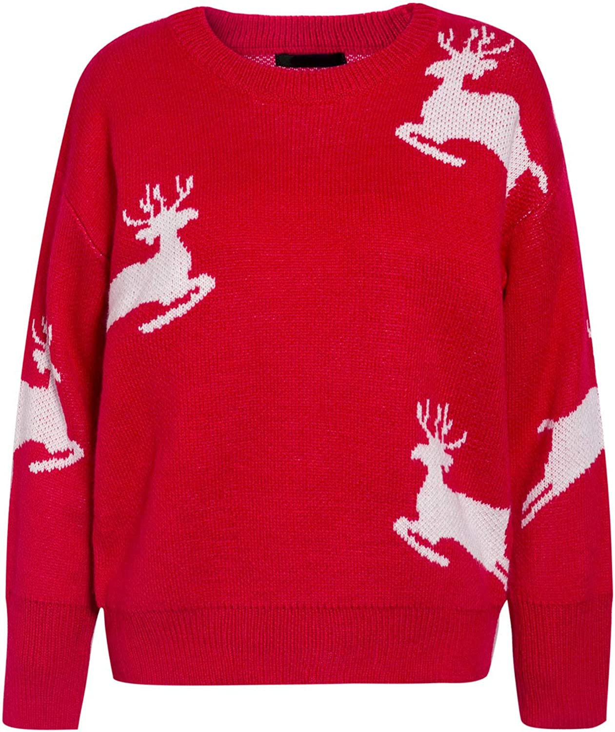 Miessial Women's Ugly Christmas Reindeer Sweater Pullovers Warm Crewneck Chunky Knitted Sweaters