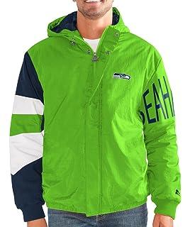 1949e59bc STARTER Seattle Seahawks NFL Men s Knockdown Full Zip Premium Hooded Jacket