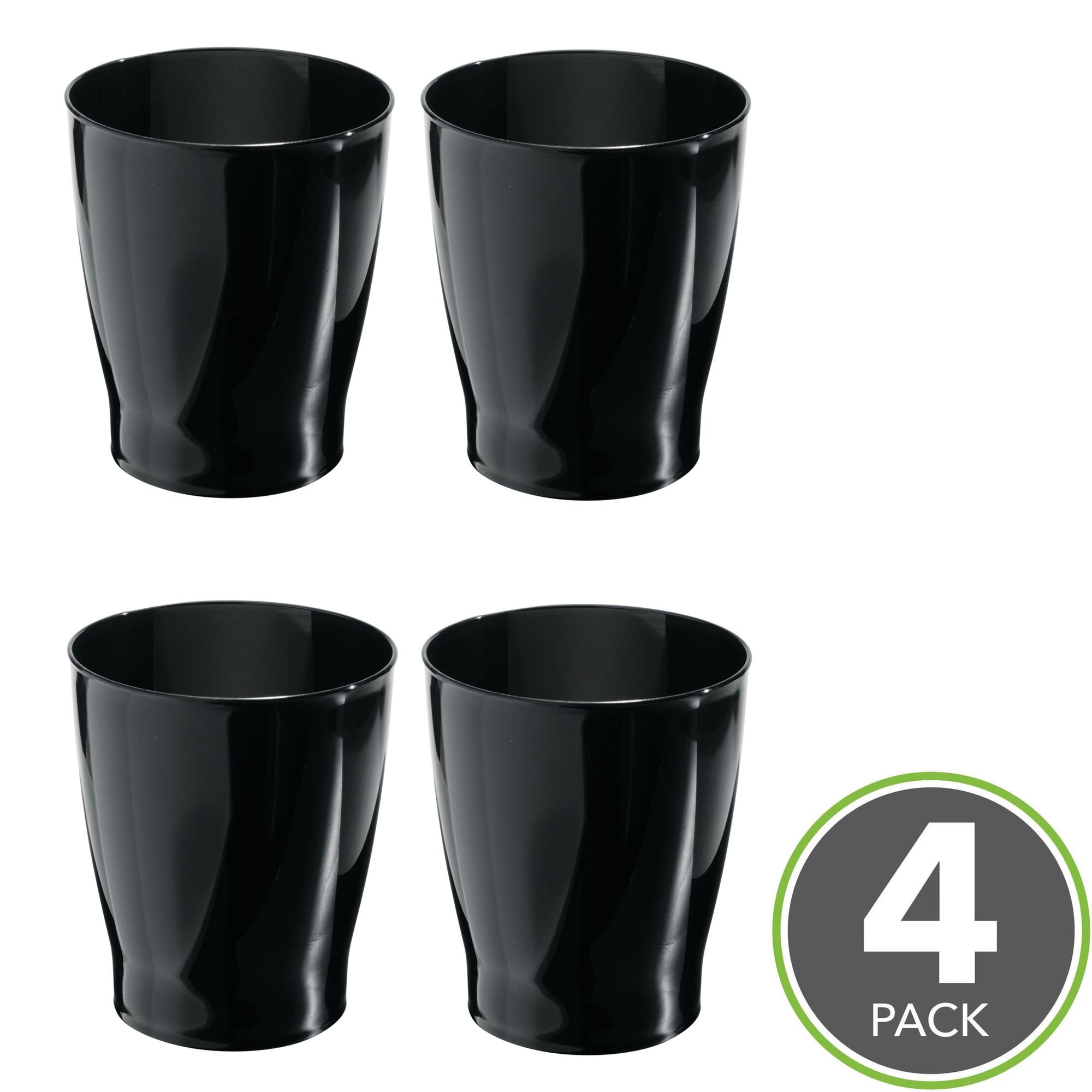 mDesign Slim Round Plastic Small Trash Can Wastebasket, Garbage Container Bin for Bathrooms, Powder Rooms, Kitchens, Home Offices, Kids Rooms - Pack of 4, Black
