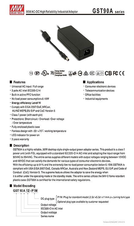 Amazon.com: MEAN WELL Original gst90 a24-p1 m 90 W 24 V 3,75 ...