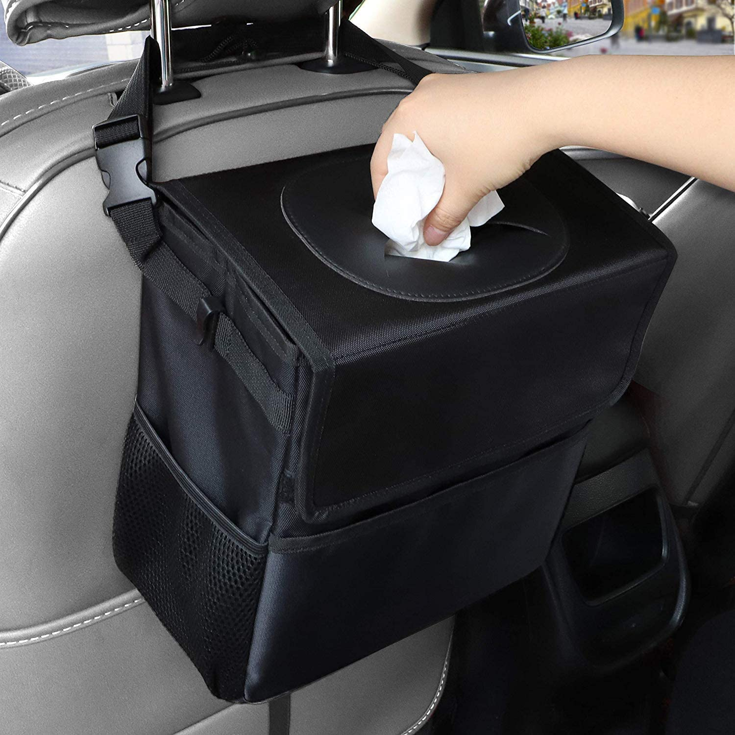 100/% Waterproof Traveling Cup Holder Car Garbage Bag Upgraded Portable Collapsible Car Trash Can with Lid and Clip