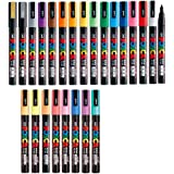 Uni Posca Paint Marker FULL RANGE Bundle Set , Mitsubishi Poster Colour ALL COLOR Marking Pen Fine Point ( PC-3M ) 24 Colours