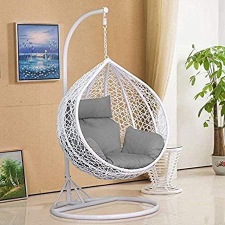 Harrier Hanging Egg Chair Swing 2 Sizes Indoor Outdoor Patio Garden Chair Freestanding Rattan Egg Chair With Stand Single Seat Only Black White Amazon Co Uk Garden Outdoors