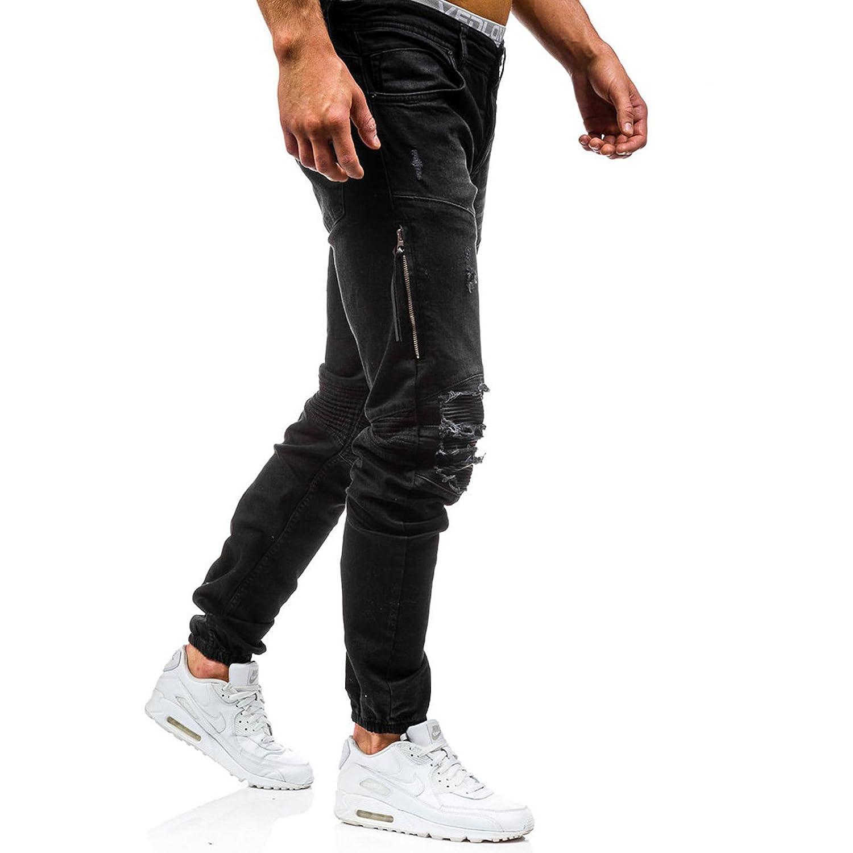WSLCN Homme Stretch Jeans Destroy Biker D/échir/é Trou Denim Pantalons Skinny Jeans Basique Pantalons Streetwear Slim Fit Genou Ouvert Automne
