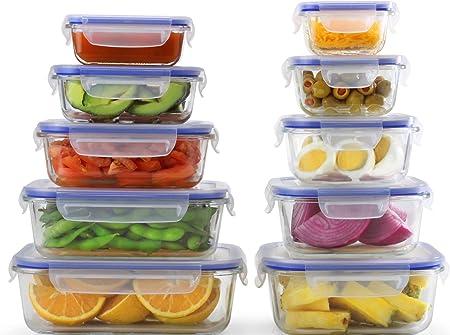 Popit! [10-Pack] comida cristal Prep Contenedores - Preparación de ...