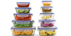 [10-Pack] Glass Meal Prep Containers - Food Prep Containers with Lock Down Lids Meal Prep - Food Storage Containers Airtight - Lunch Containers Portion Control Containers - BPA Free Container By Popit