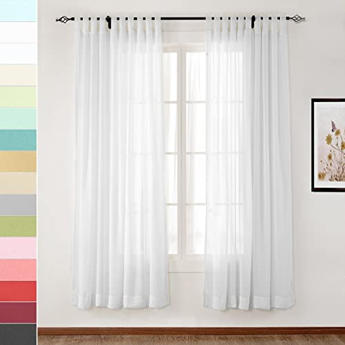 Best window curtain panel: Drapifytex Solid Gauze Curtain White Tab Top Drapery Living Room Curtain 150 inches Width 96 inches Long Curtain 1 Panel