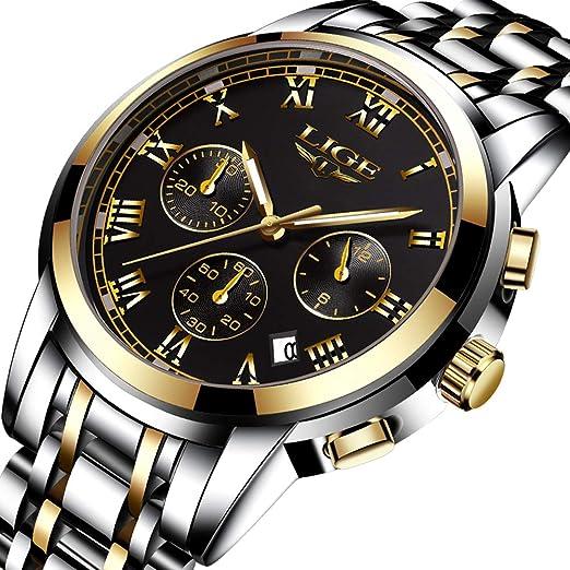 43b1905b933 Mens Watches Gold Black Stainless Steel Analog Quartz Watch Luxury Brand  LIGE Fashion Business Watch Men Sports Waterproof Round Clock   Amazon.co.uk  ...