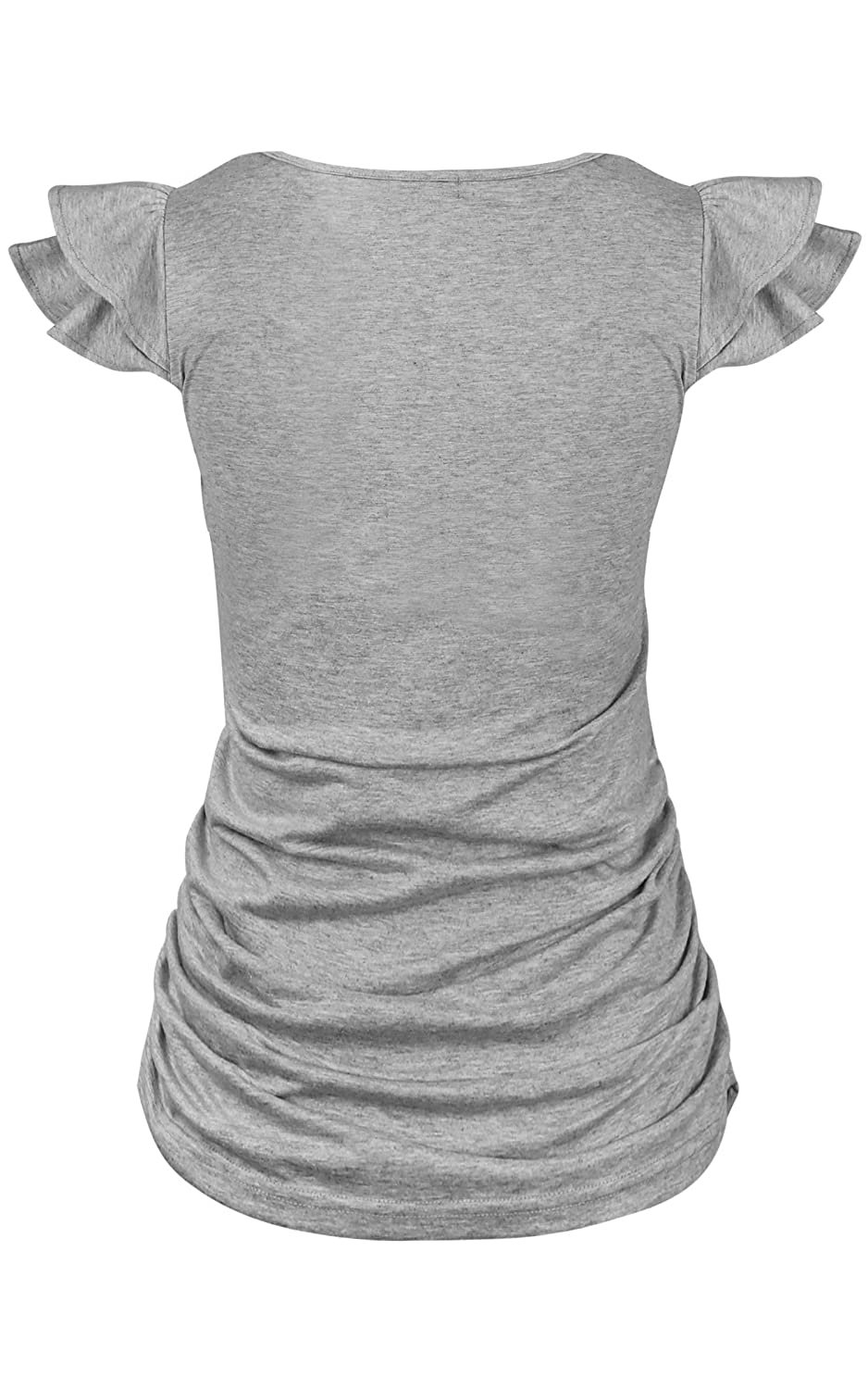 Molliya Maternity Tops Flying Sleeve Ruched Sides Casual Pregnancy Summer T-Shirt