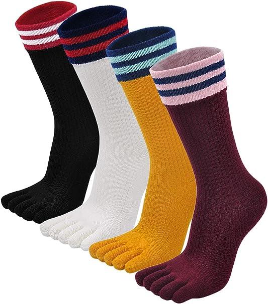 PUTUO Calcetines de Dedos Mujer Calcetines Cinco Dedos de Deporte, Mujer Calcetines del Dedo del Pie, Calcetines de Algodón, suave y transpirable, 4/5 pares: Amazon.es: Ropa y accesorios