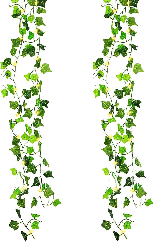 Cour Faux Plantes Artificielles Guirlandes de Lierre 2m avec 20 LED Rideau Lumi/ères F/ée D/écoration Lumineuse Suspendre pour Halloween Jardin Lot de 2 Maison F/ête de Mariage No/ël