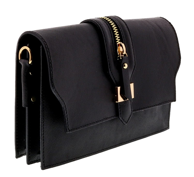 HS1168 NR CLO Black Leather Clutch/Shoulder Bag
