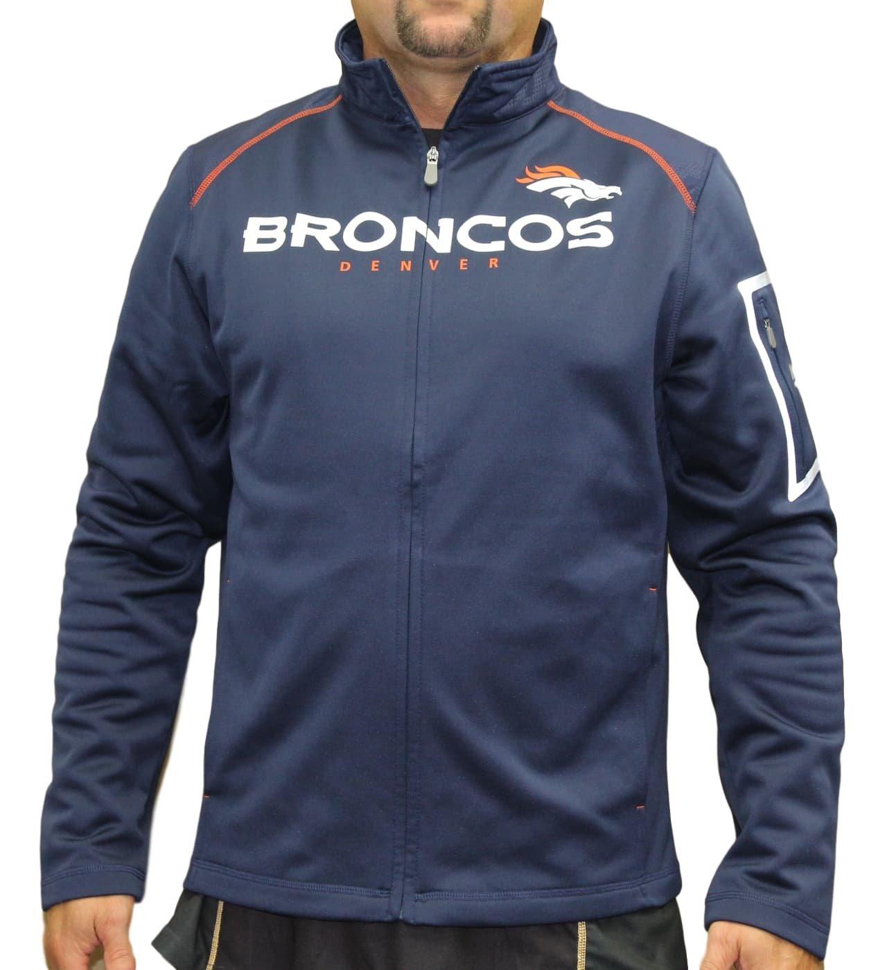 Denver Broncos Majestic NFL「チームワーク」メンズFull Zip Mock Neck Sweatshirt 3L  B072MVZBZK