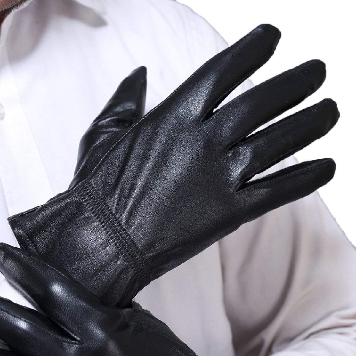 CWJ Men's Thin Warm Drive Thick Plate Gloves,Black,Large