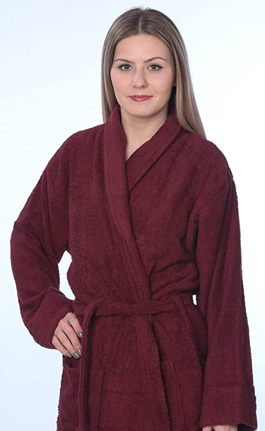 Womens 100% Cotton Shawl Collar Robe Terry Cloth Bathrobe Available in Plus  Size at Amazon Women s Clothing store  3979f674b