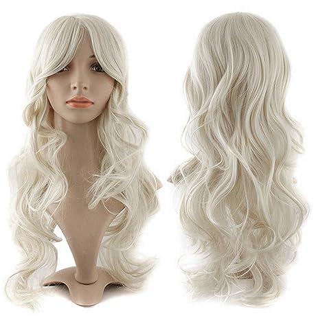 S-noilite – Peluca blanca rizada hecha de cabello sintético Kanekalon,