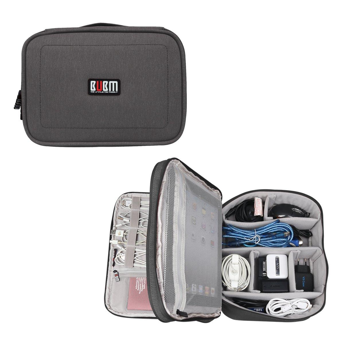 BUBM Universal Electronics Travel Organizer Computer Cable Electronic Organizer Travel Office Gear Organizer Electronics Accessories Bag Lagre Gadget Carry Storage Bag Pouch Black