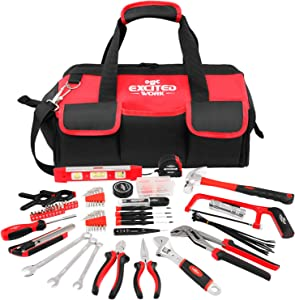 169-Piece Red Tool Set, EXCITED WORK Portable Daily Use Household Hand Tool kit with Large Mouth Opening 16-inch Tool Bag for DIY and Home Maintenance