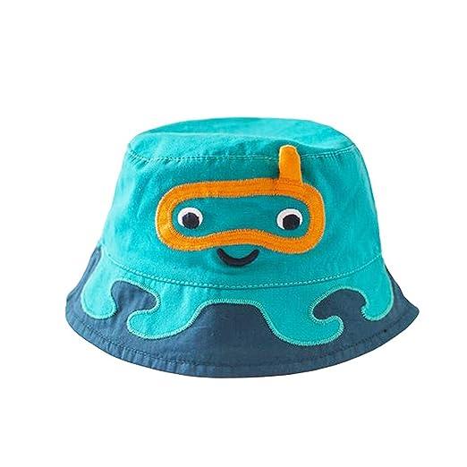 Amazon.com  Boys Cotton Floppy Bucket Hat with Strap Cartoon Sun ... 78b3af33a0c